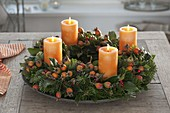 Natural Advent wreath made with Abies nordmanniana (Nordmann fir