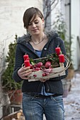Woman with fruit trees as an unusual Christmas wreath filled with apples