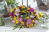 Yellow rose wreath with ranunculus, Hyacinthus flowers