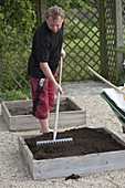 Building square flowerbeds on concrete paving