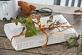 Gift book wrapped in tea towel with orange cord and tendril