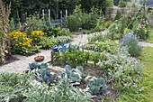 Vegetable garden with Rudbeckia 'Goldsturm' (sun hat), artichokes