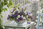 Scented arrangement in enameled colander, syringa (lilac)