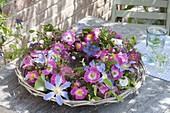 Wide basket bowl with roses wreath, Clematis 'Perle D'Azur'