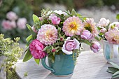 Small bouquet of dahlia, Rose, sage