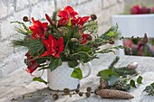 Winter bouquet with Hippeastrum (Amaryllis), Hedera (Ivy)