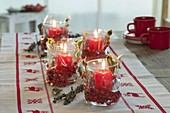 Instead of Advent wreath, Advent lights, glasses with red candles