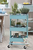 Light blue serving trolley with rosemary, thyme