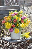 Duftender Strauss aus gefuellten Tulipa (Tulpen) und Acacia (Mimosen)