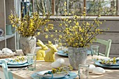 Covered easter table in the winter garden