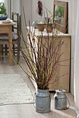 Bouquet made of different-colored Cornus (dogwood) branches of