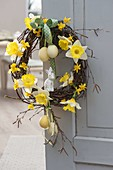 Easter wreath made of betula (birch) twigs and salix (willow)
