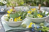 Easter bunnies in eggshells with primula veris (cowslip)