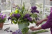 Arrange bouquet of syringa, betula and grasses