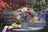 Autumn bouquet on the garden table
