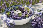 Floating lantern in enamel bowl, lavender wreath