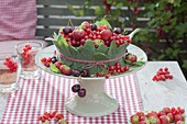 Berry cake made from strawberries, redcurrants
