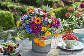 Rural bouquet in zinc bucket