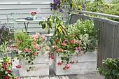 Balkon mit Sichtschutz aus selbstgebauten Holzkaesten