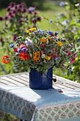 Colorful farmer's garden bouquet, calendula (marigold), tropaeolum