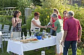 Summer party with friends, table with antipasti, appetizers and drinks