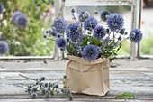 Small bouquet in paper bag, Echinops (Globe Thistle)