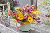 Late summer bouquet of Calendula (Marigold), Zinnia (Zinnia)