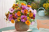 Pink-orange Late Summer Bouquet Calendula, Lavatera
