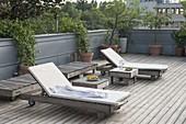 Mediterranean roof terrace with wooden deck