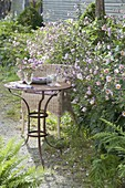 Small seat with wicker chair and table on the edge, Anemone hupehensis