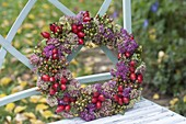 Autumn wreath with Sedum (Fetthenne) and Rosehips (Rosa)