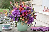 Red-violet autumnal bouquet, Dahlia, Zinia, Phlox