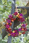 Wreath with Zinnia, Rosa, Crataegus