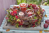 Autumn wreath with clematis (clematis) and Parthenocissus