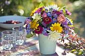 Colorful bouquet from Dahlia, Helianthus, Zinnia