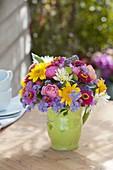 Colorful bouquet of Dahlia, Helianthus, Zinnia