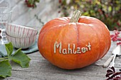Pumpkin (cucurbita pepo) with message 'Mahlzeit' (meal) on the table