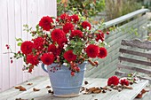 Red Bouquet from Dahlia, Rosa, Malus