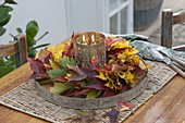 Yellow and red autumn leaves wreath