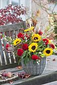 Autumn bouquet in basket vase, Helianthus, Dahlia
