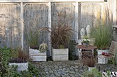 Autumnal grass terrace with privacy elements