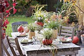 Autumnal pumpkin table decoration with grasses