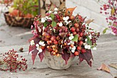 Autumn bouquet of branches with fruit decoration, Malus, Rosa