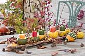 Pumpkin table decoration with decorative pumpkins and bark