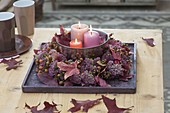 Wreath of sedum and Rose on wooden coasters