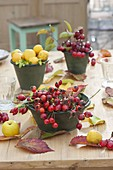 Table decoration with roses (rosehip), Chaenomeles (ornamental quince)