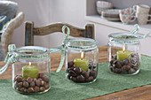 Preserving jars used as lanterns, Corylus