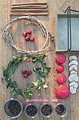 Ingredients board for fast Advent wreath with preserving jars