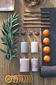 Ingredients board for Mediterranean Advent wreath