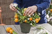 Thyme mediterranean decorated with fruits and flowers